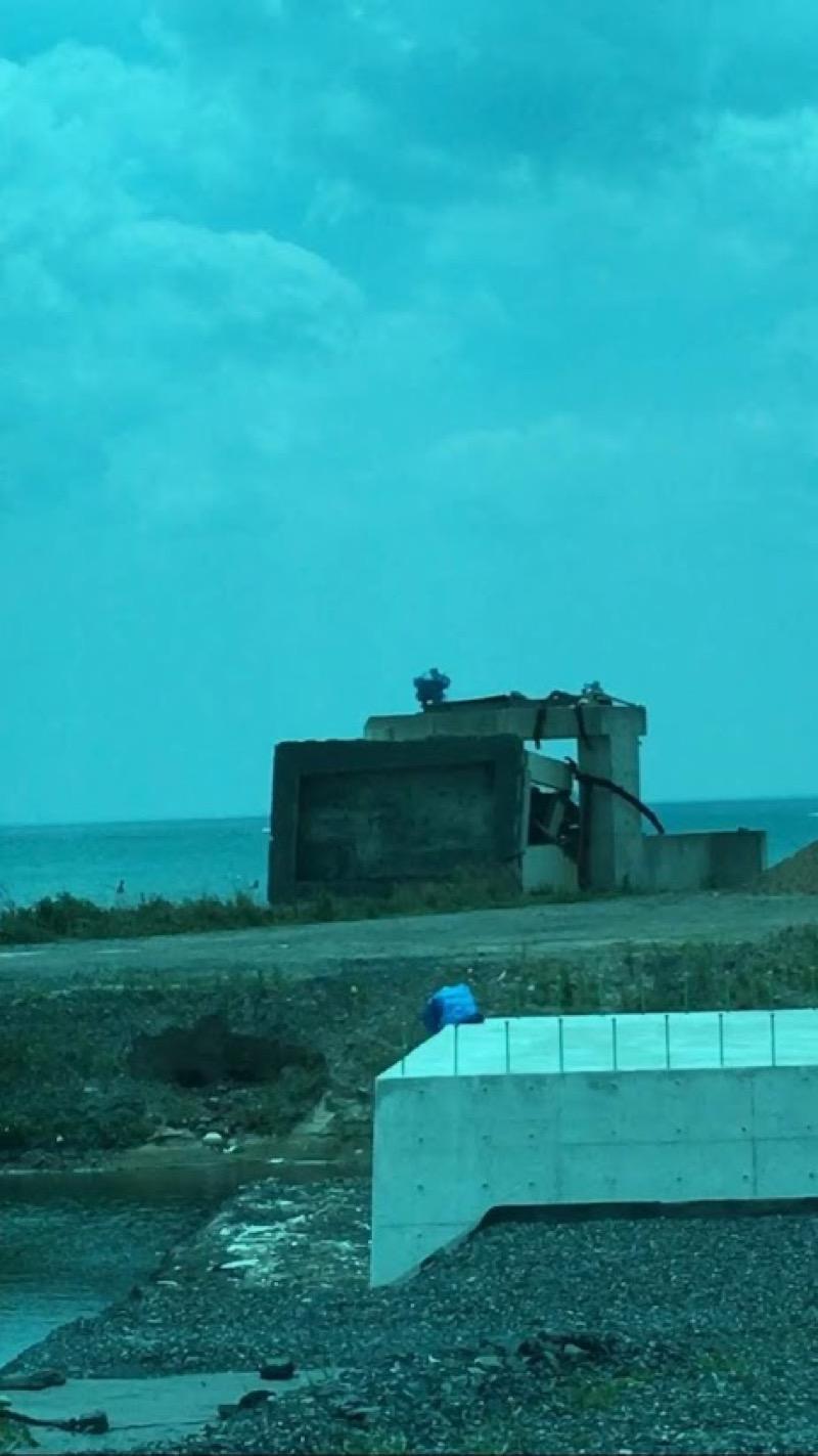 津波の引き波で倒された水門