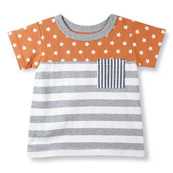 星×ボーダー切替え半袖Tシャツ
