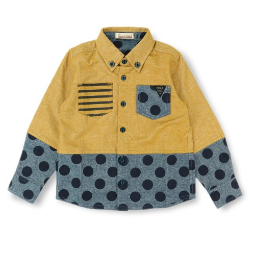 商品番号 [11-4408-414] バイカラー切り替え長袖シャツ