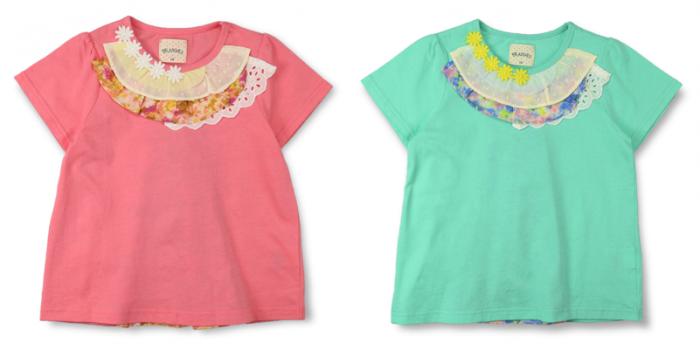 GIRL 商品番号 [12-5206-172] 花柄異素材切替え半袖Tシャツ