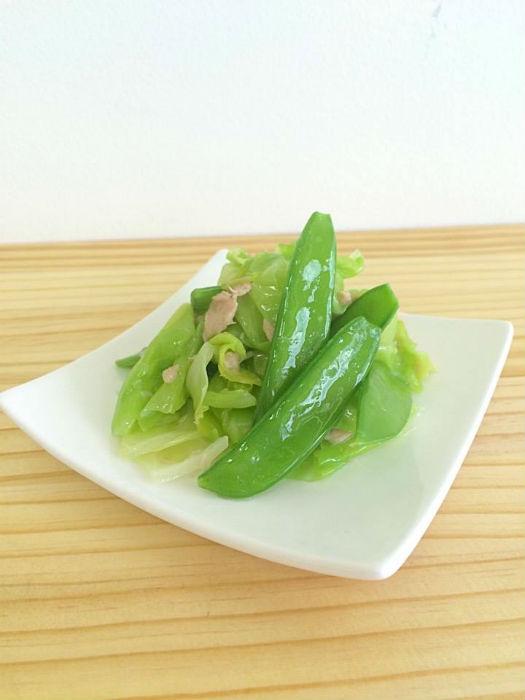 絹さやと春キャベツの温サラダ