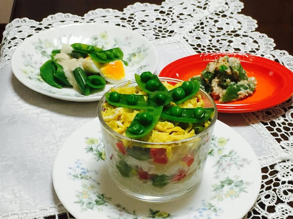 スナップえんどうと蒸し野菜の洋風野菜ちらし