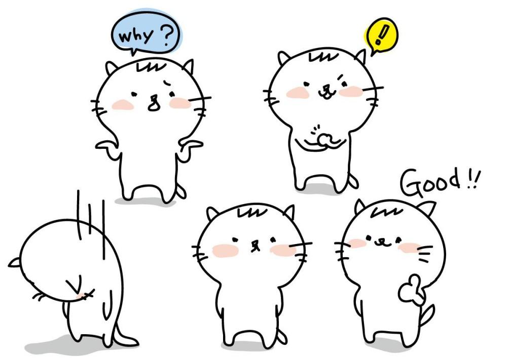 いろんな表情の猫のイラスト