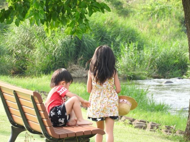 公園の池の前の兄弟