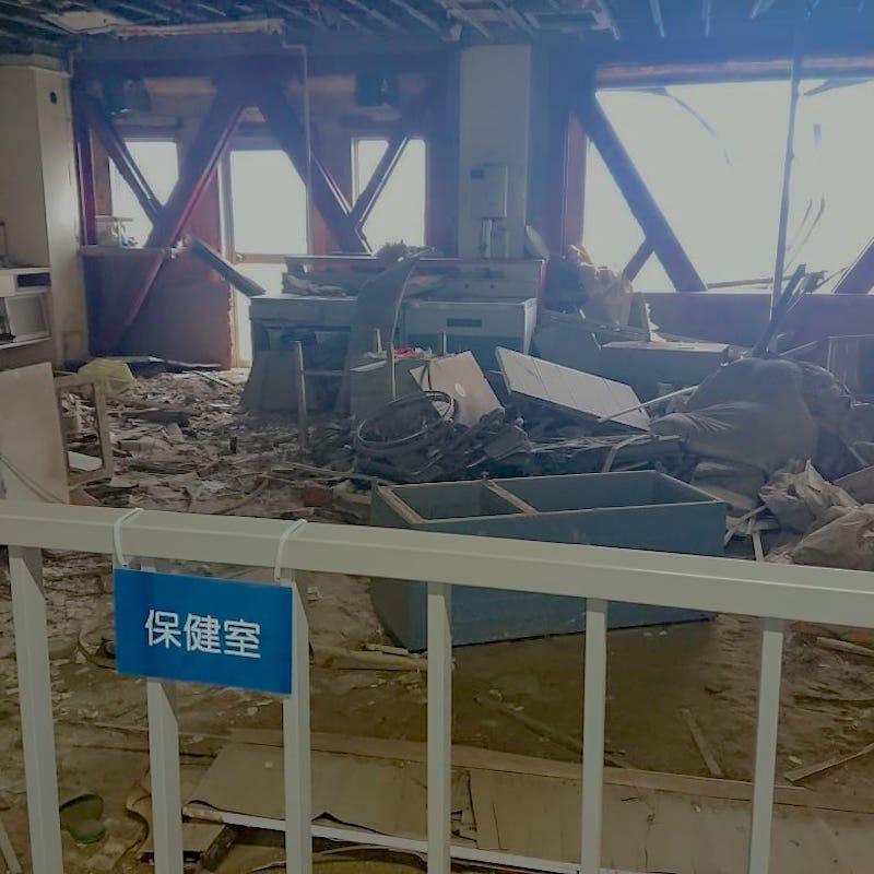 津波の被害にあった校舎