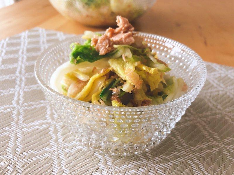 白菜とツナの和えサラダ完成