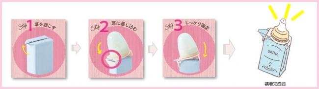 チュチュ 紙パック用乳首の装着方法