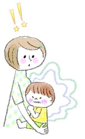 うんちを我慢してる子どもとそのママ