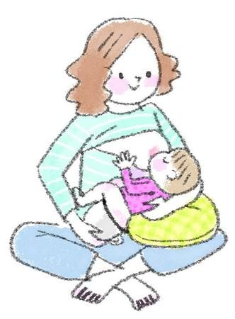 赤ちゃんにおっぱいをあげている様子